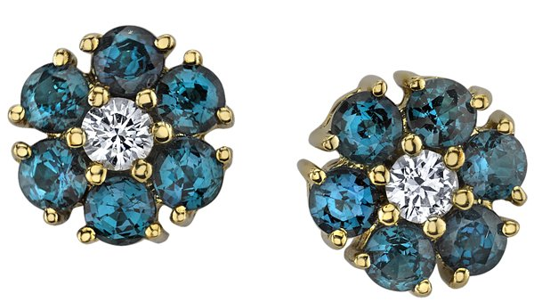 Dainty Handcrafted 18kt Yellow Gold Genuine Alexandrite Flower Earrings With Diamond Center