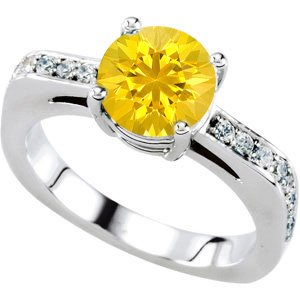 Dainty Solitaire Colored Gem Engagement Ring With Genuine Yellow 1 carat 6mm Sapphire Round Centergem - 18 Diamond Accents in Band