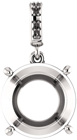 Dangle Accented Pendant Mounting for Round Shape Centergem Sized 4.10 mm to 12.00 mm - Customize Metal, Accents or Gem Type