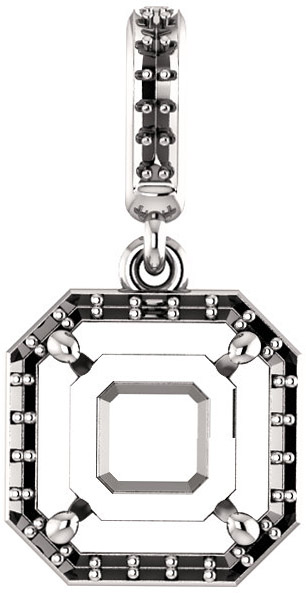Dangle Halo Accented Pendant Mounting for Asscher Shape Centergem Sized 5.00 mm to 7.00 mm - Customize Metal, Accents or Gem Type