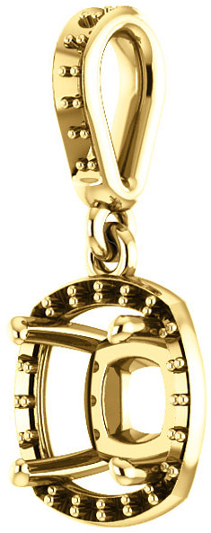 Dangle Halo Accented Pendant Mounting for Cushion Shape Centergem Sized 5.00 mm to 10.00 mm - Customize Metal, Accents or Gem Type