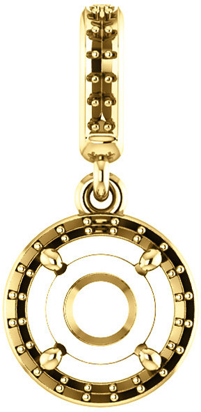 Dangle Halo Accented Pendant Mounting for Round Shape Centergem Sized 4.10mm to 12.00 mm - Customize Metal, Accents or Gem Type