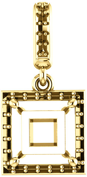 Dangle Halo Accented Pendant Mounting for Square Shape Centergem Sized 4.00 mm to 10.00 mm - Customize Metal, Accents or Gem Type
