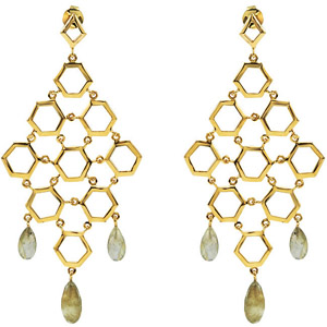 Dangling 18 Karat Vermeil Hexagonal Chain Earrings with Pear Shaped Gemstone Accents - Choose Your Gem