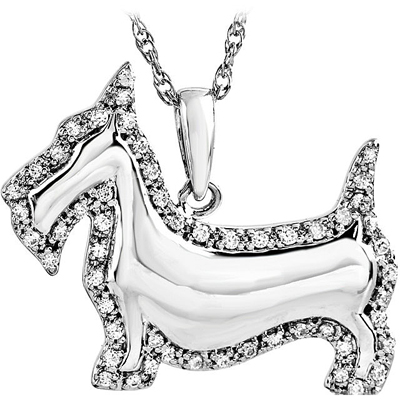 Darling Scottish Terrier Dog Charm Pendant in Sterling Silver With .25ct .9-1mm Diamond Accent Outline - Free Chain Included