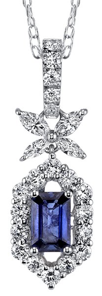 Dazzling 0.61ct Emerald Cut Blue Sapphire Pendant in 18kt White Gold - 0.60ctw Diamond Accents