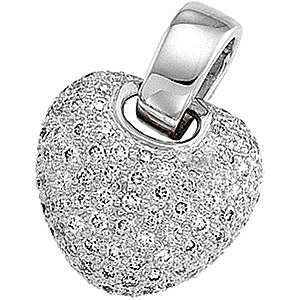 Dazzling 1 ct Pave Diamond Heart Pendant in 14k White Gold for SALE - FREE Chain - 1.2-1.3mm stones