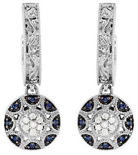 Dazzling 14k White Gold Post Back Hoop Dangle Style Earrings With .16ct 1mm Blue Sapphire and Diamond Accents