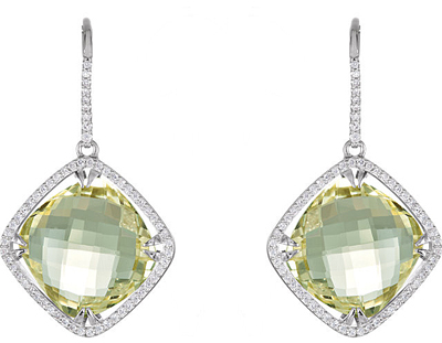 Dazzling 16mm Lemon Quartz Diamond Accented Sterling Silver Wire Back Dangle Earrings for SALE