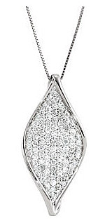 Dazzling 1ct Pave Diamond Twisted Marquise Shape Pendant in 14k White Gold - FREE Chain Included - SOLD
