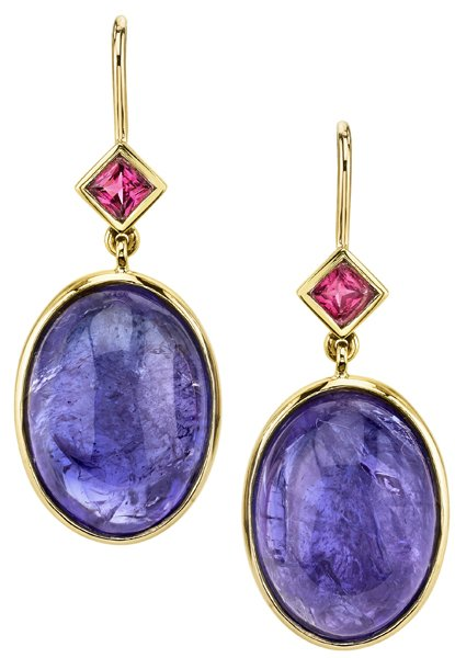 Dazzling 27.63ct Oval Cabochon Tanzanite Dangle Earrings - Princess Cut Spinel Color Contrast