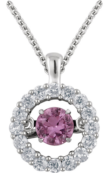 Dazzling .34ct 4mm Round Pink Sapphire 14k White Gold Pendant With Open Diamond Halo Frame - FREE Chain