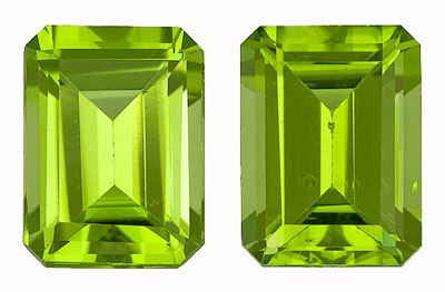 Dazzling and Bright Peridot Genuine Gem Pair  for SALE! Emerald Cut, 3.57 carats