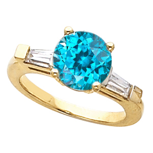 Dazzling Blue Zircon Gemstone Engagement Ring With Diamond Baguette Side Gems - SOLD