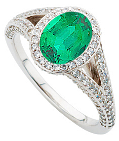 Dazzling Columbian Super Gem 1ct 7x5mm Emerald set in Custom Split Shank Diamond Gold Mounting on SALE