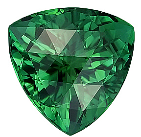 Dazzling Dark Green Tourmaline Genuine Gemstone, Trillion Cut, 15.8 x 15.7 mm,  Rose Cut 14.8 carats