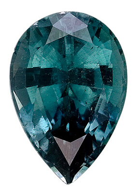 Dazzling Dark Grey Blue Tourmaline Natural Gemstone, Pear Cut, 2.43 carats