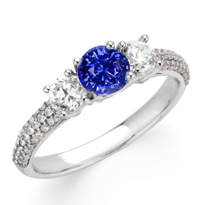 Dazzling Deep 5.5mm Blue Sapphire Gemstone Engagement Ring With Diamond Side Gems and Diamond Accents on Band