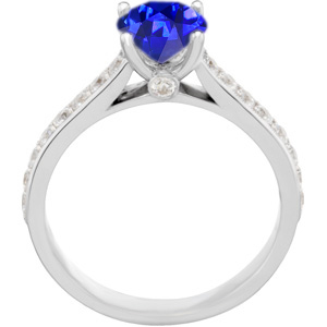 Dazzling Genuine 1 carat 6mm Blue Sapphire Round Solitaire Engagement Ring With Inset Diamond Accents in Band