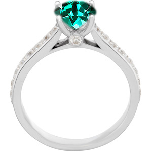 Dazzling Genuine Blue Green Tourmaline Round Solitaire Engagement Ring With Inset Diamond Accents in Band - SOLD