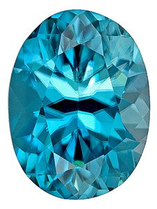 Dazzling, Larger Sized, Faceted Blue Zircon Natural Gem, Oval Cut, 6.18 carats