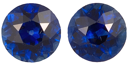 Fine Pair of Blue Sapphire Genuine Gemstones in Round Cut, 2.19 carats