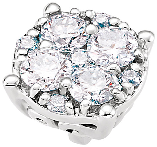 Dazzling Round Diamond Cluster Preset Peg Jewelry Finding in 14k White Gold With Heart Detail - Diamond Carat Weight Options