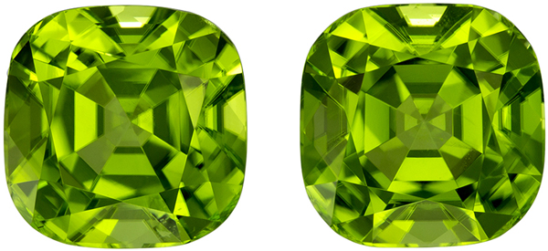 Dazzling Well Matched Pair of Peridot in Cushion Cut, Lime Green, 8.2 x 8.2 mm, 6.8 carats - SOLD