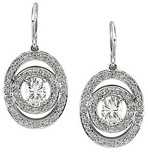 Dazzling Wire Back 14k White Gold Earrings With 1.64ct 7x5mm Oval Shape Moissanite Gems - Orbiting Diamond Accented Open Frames - SOLD