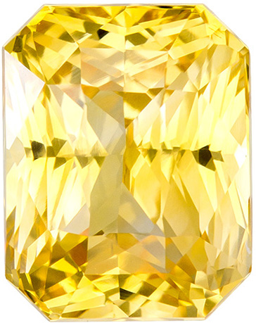 Dazzling Yellow Sapphire in Radiant Cut, Pure Medium Yellow Color in 9.0 x 7.0 mm, 3.83 carats