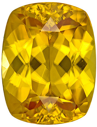 Dazzling Yellow Zircon Loose Gem in Cushion Cut, Pure Rich Yellow Color in 10.5 x 8.1 mm, 5.05 carats