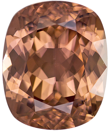 Dazzling Zircon Loose Gem in Cushion Cut, Light Champagne Brown, 10.5 x 8.6 mm, 5.62 carats