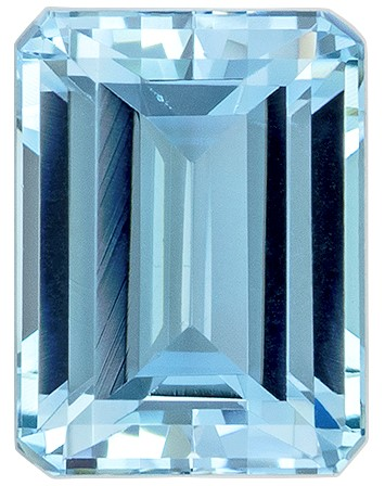 Magnificent Gem  Blue Aqua Genuine Gemstone, 1.66 carats, Emerald Shape, 8 x 6 mm