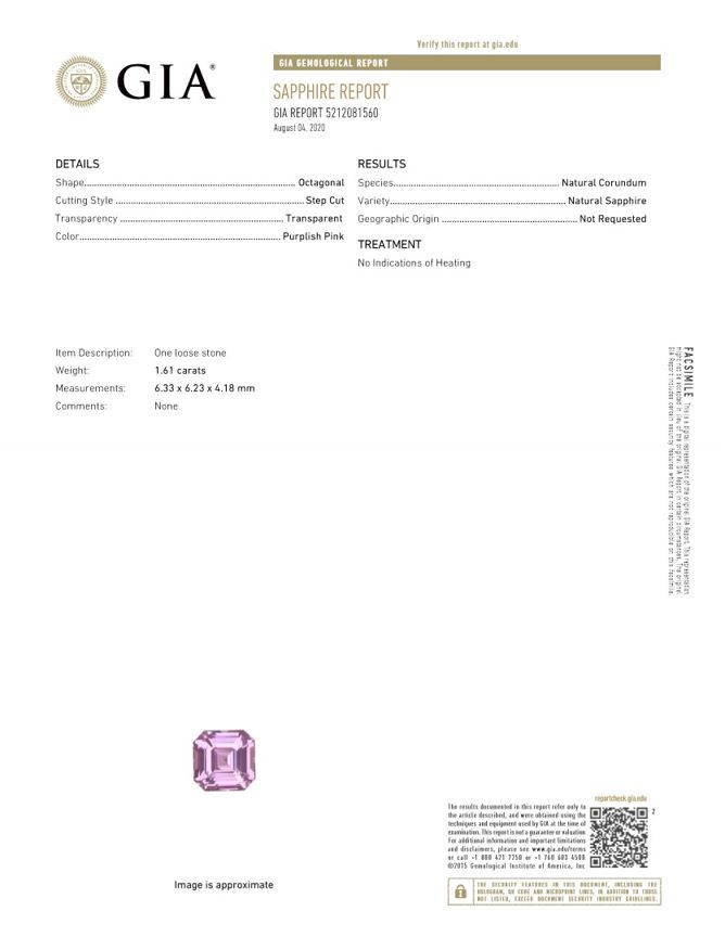 Deal on Asscher Cut Beautiful Pink Sapphire Loose Gemstone, 1.61 carats, 6.33 x 6.23 x 4.18 mm with GIA Certificate, Fine Material