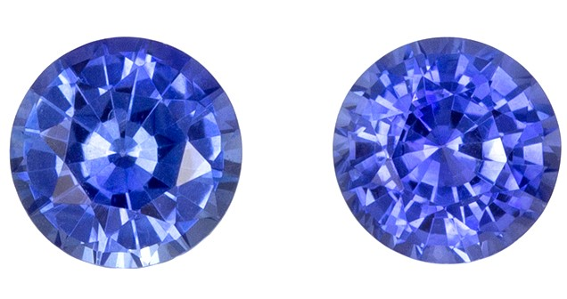 Deal on Blue Sapphire Genuine Gemstone, 0.64 carats, Round Shape, 4 mm Matching Pair