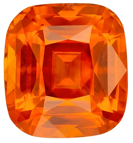 Deal on Cushion Cut Genuine Orange Sapphire Loose Gemstone, 4.04 carats, 8.8 x 8 mm , Such Color