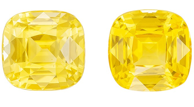 Deal on  Cushion Cut Loose Yellow Sapphire Loose Gemstones, 5.52 carats, 7.7 x 7.5 mm Matching Pair, Full Brilliance
