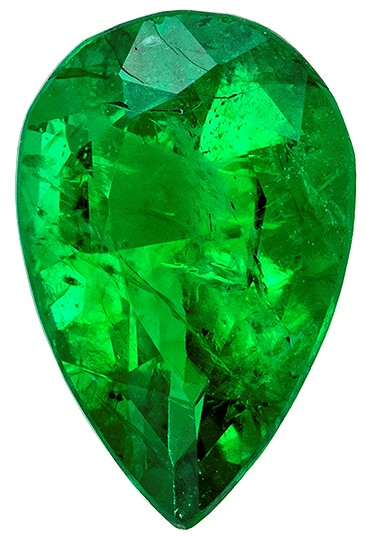Unique Beauty  Green Emerald Genuine Gemstone, 0.31 carats, Pear Shape, 6 x 4 mm