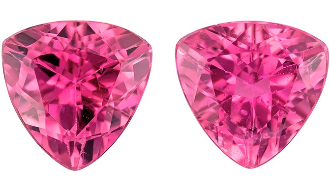 Deal on Pink Tourmaline Trillion Shaped Gemstones Matching Pair, 2.4 carats, 7mm - A Beauty of A Gem