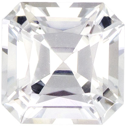 Deal on White Sapphire Loose Gem Asscher Cut, Very Colorless White, 5.3 mm, 1.01 carats
