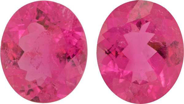 Deal Rich Pink Tourmaline Pair, German Cut, Very Fine Gems in Large 12.0 x 10.3 mm, 8.96 carats