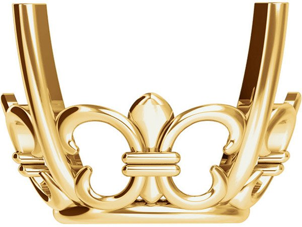 Decorative 14kt Gold 4 Prong Fleur de lis Setting for Oval Gemstone Sized 8.00 x 6.00 mm to 20.00 x 15.00 mm
