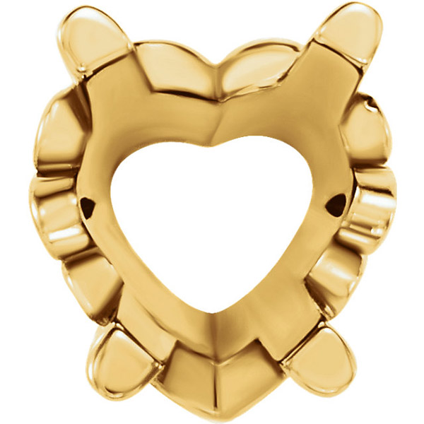 Decorative 14kt Gold 4-Prong Scroll Setting for Heart Shape Gemstone Size 4.00 mm to 16.00 mm