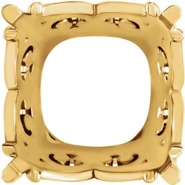 Decorative 14kt Gold 4-Prong Vintage Scroll Setting for Antique Square Gemstone Sized 6.00 mm to 12.00 mm