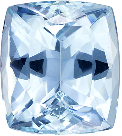 Deep Blue Aquamarine Brazilian Genuine Gem in Cushion Cut, 12.4 x 10.9 mm, 6.58 Carats