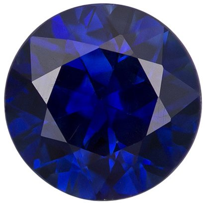 Deep Blue Round Diamond Cut Sapphire Gemstone for Sale in Intense Rich Blue Color, 6.1 mm, 1.02 carats