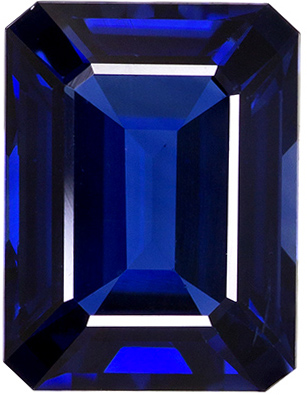 Deep Blue Sapphire Emerald Cut Gemstone for Sale in 8.4 x 6.4 mm, 2.18 carats