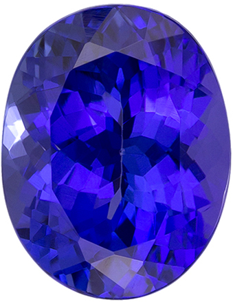 Deep Color Tanzanite Loose Oval Gemstone in Intense Rich Blue Purple Color, 9.0 x 7.1 mm, 2.4 carats