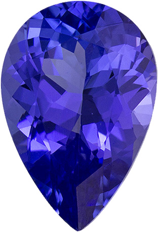 Deep Color Tanzanite Loose Pear Cut Gem in Strong Blue Purple Color, 9.5 x 6.5 mm, 1.65 Carats