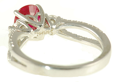 Deep Intense Burma Ruby set in Chic Diamond Pave Ring in White Gold for SALE - SOLD